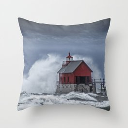 Grand Haven Lighthouse in a November Storm on Lake Michigan Throw Pillow