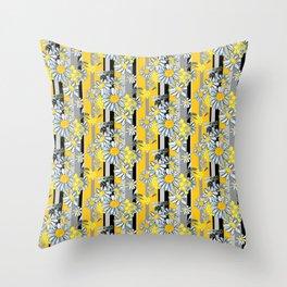 Yellow Gray Stripe lg WKS Throw Pillow