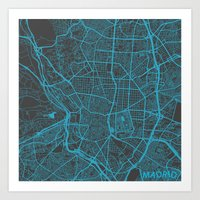 madrid Art Prints featuring Madrid by Map Map Maps