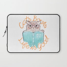 Cats, Books, Life is Good - Blue Tabby Reading a Book Laptop Sleeve