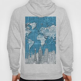 world map city skyline 10 Hoody