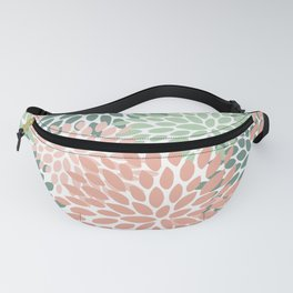 Festive, Abstract Floral Prints, Coral and Green Fanny Pack