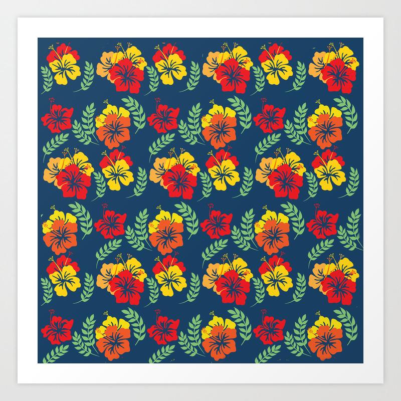 Vintage Hawaiian Floral Pattern Art Print By Annalemos Society6