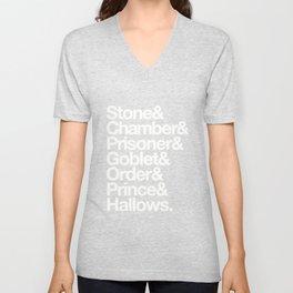 Stone & Chamber & Prisoner & Goblet & Order & Prince & Hallows Helvetica Unisex V-Neck