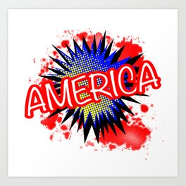 America Red White And Blue Cartoon Exclamation Art Print