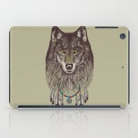 doll iPad Cases featuring Wind Catcher Wolf by Rachel Caldwell