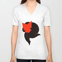reading V-neck T-shirts featuring reading by perma pupa