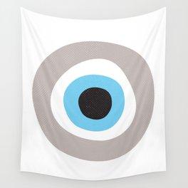 Warm Grey Evil Eye Symbol Wall Tapestry