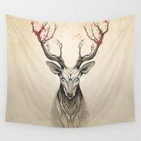 deer Wall Tapestries featuring Deer tree by Rafapasta