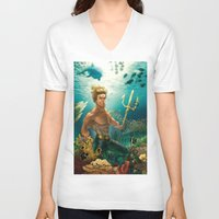 aquaman V-neck T-shirts featuring Aquaman Black Lagoon (Dark Water Version)  by Brian Hollins art