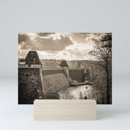 Möhne Reservoir Barrage Wall Sauerland Germany sepia Mini Art Print