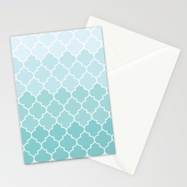 Ombre Moroccan Trellis, Latticework - Blue White Stationery Cards