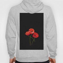 3 Poppies on Black Hoody