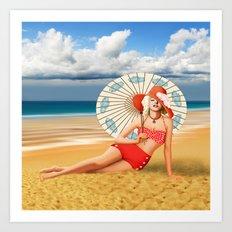 Marilyn on the beach Art Print