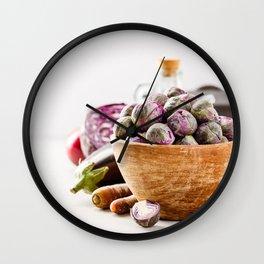Fresh organic purple fruits and vegetables Wall Clock