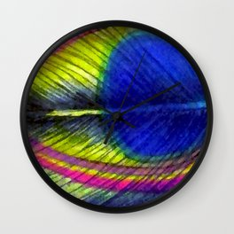 Violet Fringed with Golden Amber Wall Clock