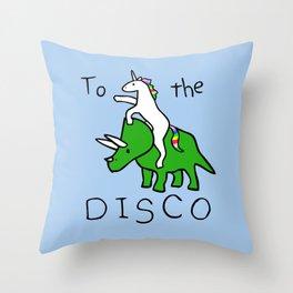 To The Disco (Unicorn Riding Triceratops) Throw Pillow