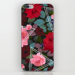 Triangles With Vintage Red Pink Roses and Chocolate Cosmos Flower Pattern iPhone Skin