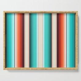 Navajo White, Turquoise and Burnt Orange Southwest Serape Blanket Stripes Serving Tray