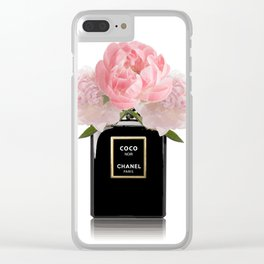 Black perfume floral Clear iPhone Case