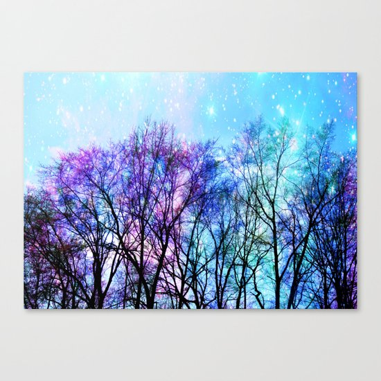 Black Trees Playful Pastels Space Canvas Print