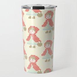 Red Riding Hood Cross Stitch Pattern on yellow Travel Mug