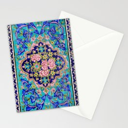 Turquoise Floral tile Stationery Cards
