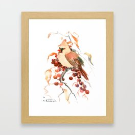 Cardinal and Berries Framed Art Print