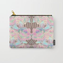 Peonies Pattern with Waves - Pastel Rainbow Carry-All Pouch