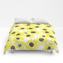 Sunflowers watercolor pattern Comforters