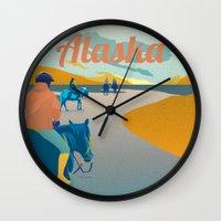alaska Wall Clocks featuring Alaska by Shirong Gao