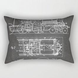 Steam Train Patent - Steam Locomotive Art - Black Chalkboard Rectangular Pillow