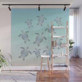 Silver Sea Turtles Wall Mural
