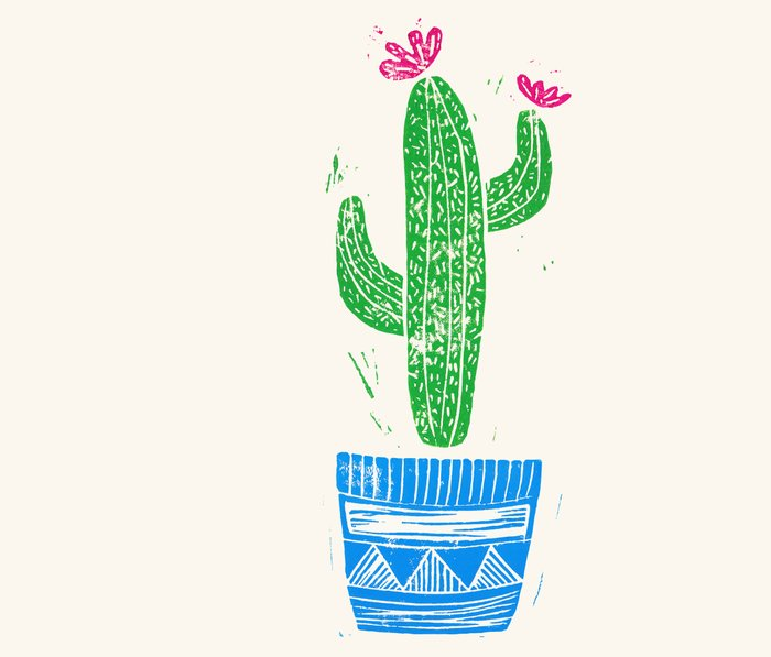 Linocut Cactus #2 in a pot Metal Travel Mug