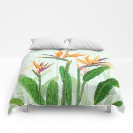 bird of paradise flower painting Comforters