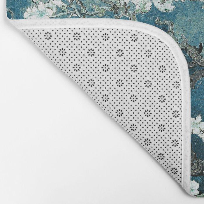 Van Gogh Almond Blossoms : Dark Teal Bath Mat