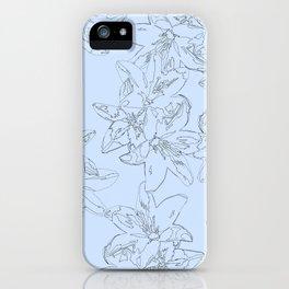 blue line art flower pattern iPhone Case