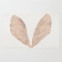 rose Area & Throw Rugs featuring Cicada Wings in Rose Gold by Cat Coquillette