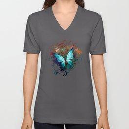 The Blue butterfly Unisex V-Ausschnitt