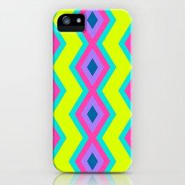 Geometric triangles pattern cool retro vibrant colors iPhone Case