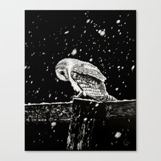 Snowfall at Night (Owl) Canvas Print
