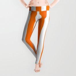 Turmeric Orange Beach Hut Vertical Stripe Fall Fashion Leggings
