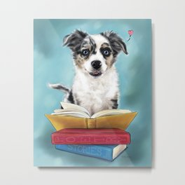 Puppy Book Lover Metal Print