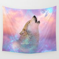 lara croft Wall Tapestries featuring Dream By Day (Wolf Dreams - Remix Series) by soaring anchor designs