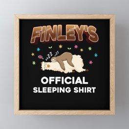 Finley Name Gift Sleeping Shirt Sleep Napping Framed Mini Art Print