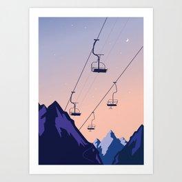 Chair lift sunset Art Print
