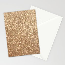 Copper Rose Gold Metallic Glitter Stationery Cards