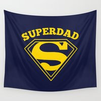 superhero Wall Tapestries featuring Superdad | Superhero Dad Gift by Boots