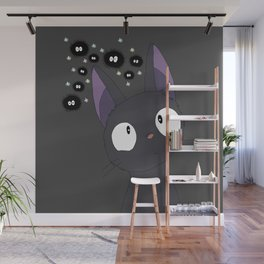 Jiji x sootballs in grey Wall Mural