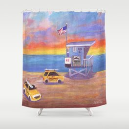 Redondo Beach Lifeguard Tower Shower Curtain